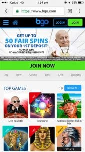 BGO.com mobile casino site