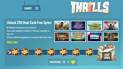 Treasure chest bonus at Thrills.com