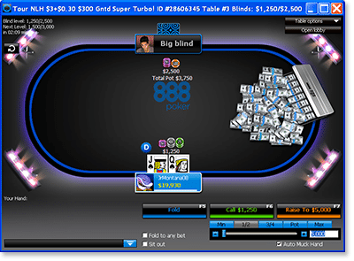 888 Poker - online tournament gameplay