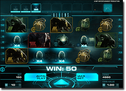 Play Aliens online slot by Net Entertainment