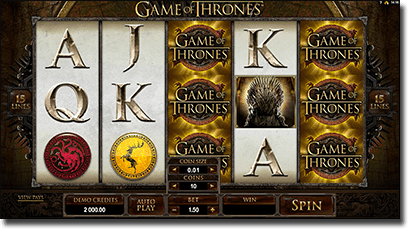 Play Game of Thrones online slots by Microgaming