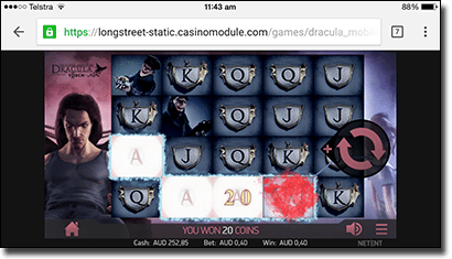 Play Dracula online slot on mobile apps