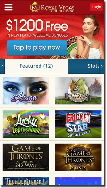 Royal Vegas Casino mobile gambling