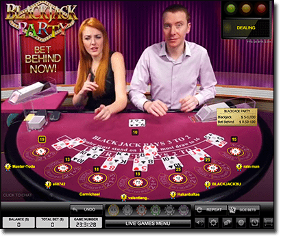 Play live dealer blackjack party