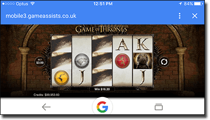 Game of Thrones slot on iPhone