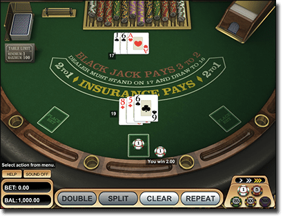 Skill-based online blackjack
