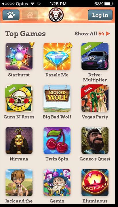 Leo Vegas mobile casino app games lobby