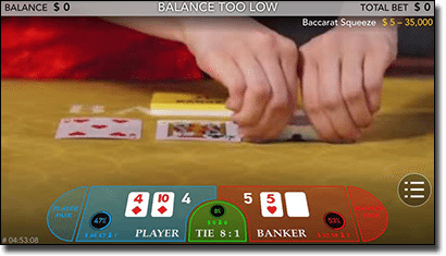 Baccarat Squeeze live dealer for mobile