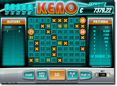Keno Bonus for real money online