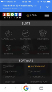 Play Microgaming titles at Slots Million on iphone
