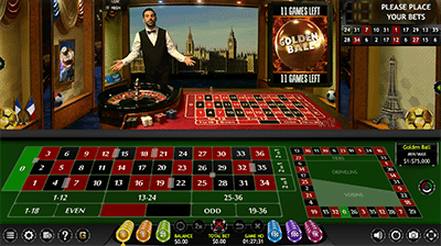 Golden Ball Live Dealer Roulette at LeoVegas.com