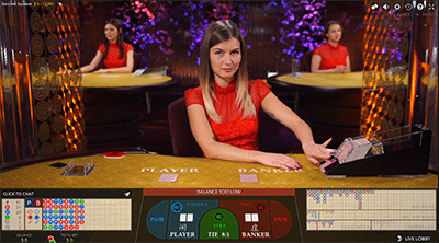Live dealer baccarat by Evolution Gaming