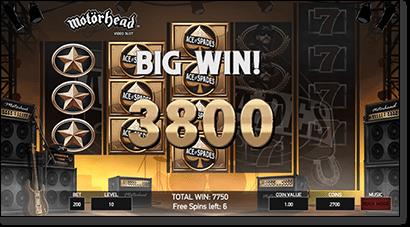 Motorhead slot free spins bonus