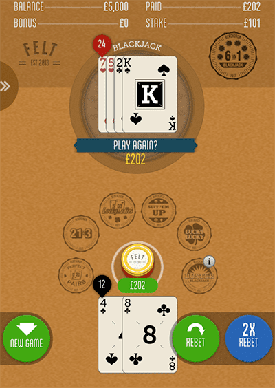 Felt 6 in 1 Blackjack for mobile