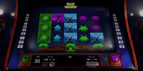 Space Invaders online slot by Playtech software