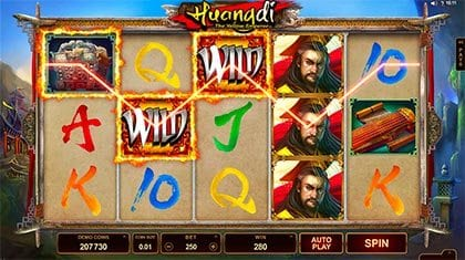 Huangdi slots wild feature wins