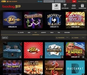 Bodog88 Casino game lobby