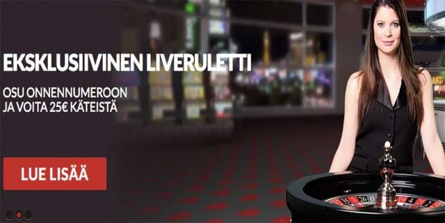 Live dealer extra cash promo for Finnish players