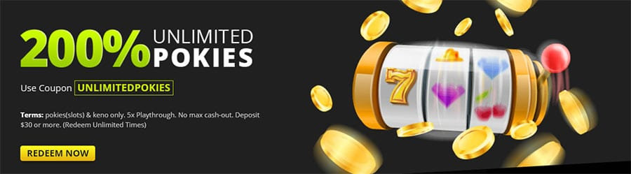 200% Unlimited Pokies Bonus