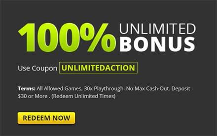 Raging Bull 100% Unlimited Bonus